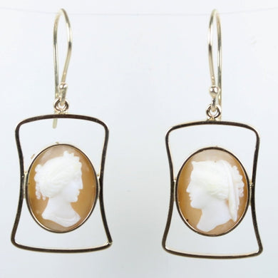 9ct Yellow Gold Conch Shell Cameo Drop Earrings