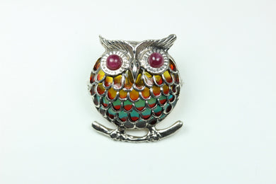 Sterling Silver Enamel And Garnet Owl Brooch