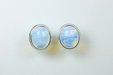 Sterling Silver Cabochon Opalite Studded Earrings