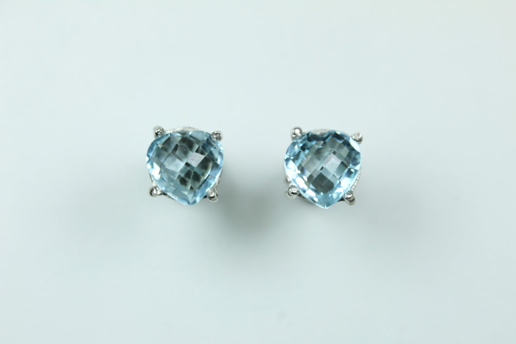 Sterling Silver Heart Cut Aquamarine Studded Earrings