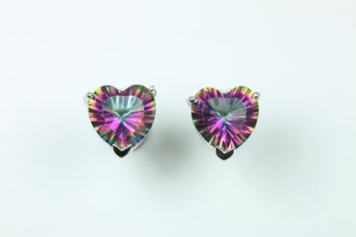 Sterling Silver Heart Cut Mystic Topaz Studded Earrings