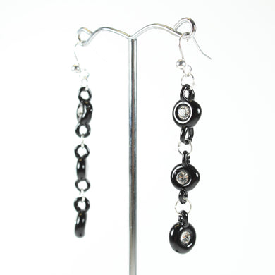 Black Glass and Clear Crystal Beaded Drop Earrings