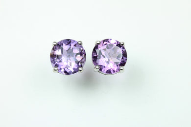 Sterling Silver Round Cut Amethyst Studded Earrings