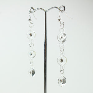 Clear Glass and Crystal Beaded Drop Earrings