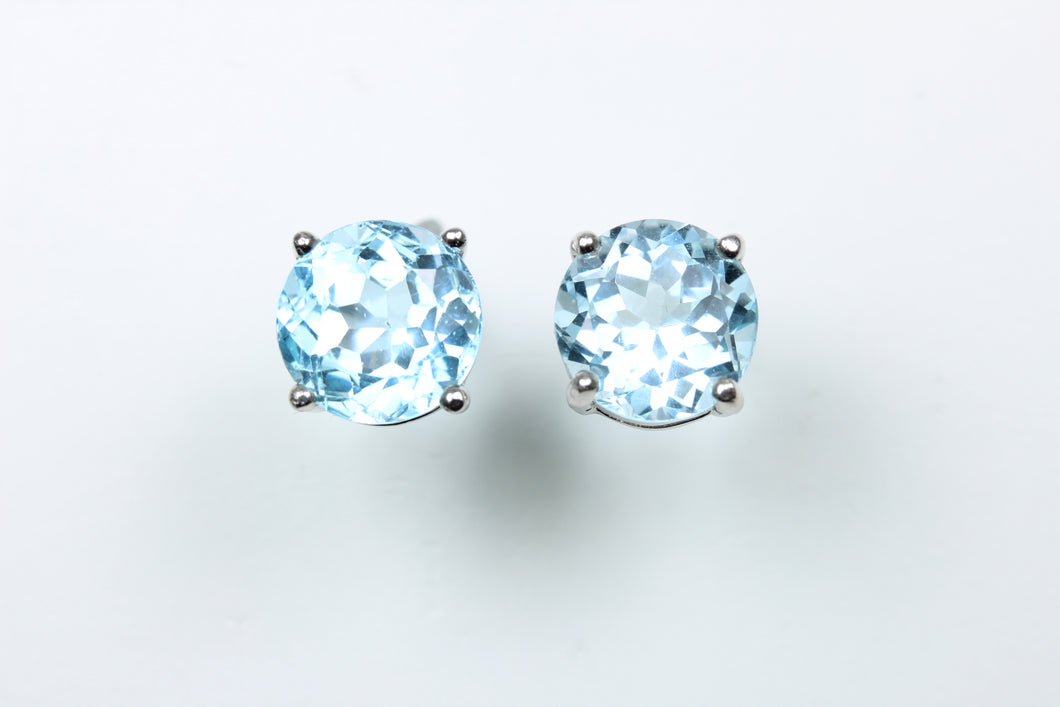 Sterling Silver Round Cut Aquamarine Studded Earrings