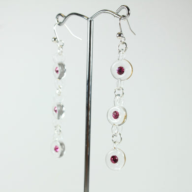 Clear Glass and Pink Crystal Beaded Drop Earrings