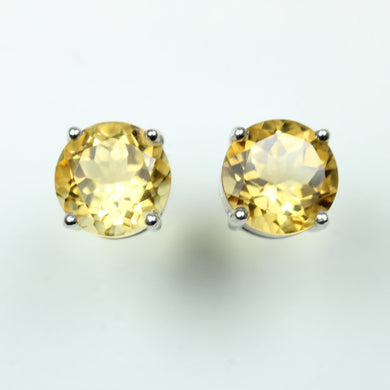 Sterling Silver Round Cut Citrine Studded Earrings