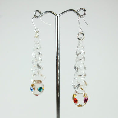 Clear Glass and Coloured Crystal Drop Earrings