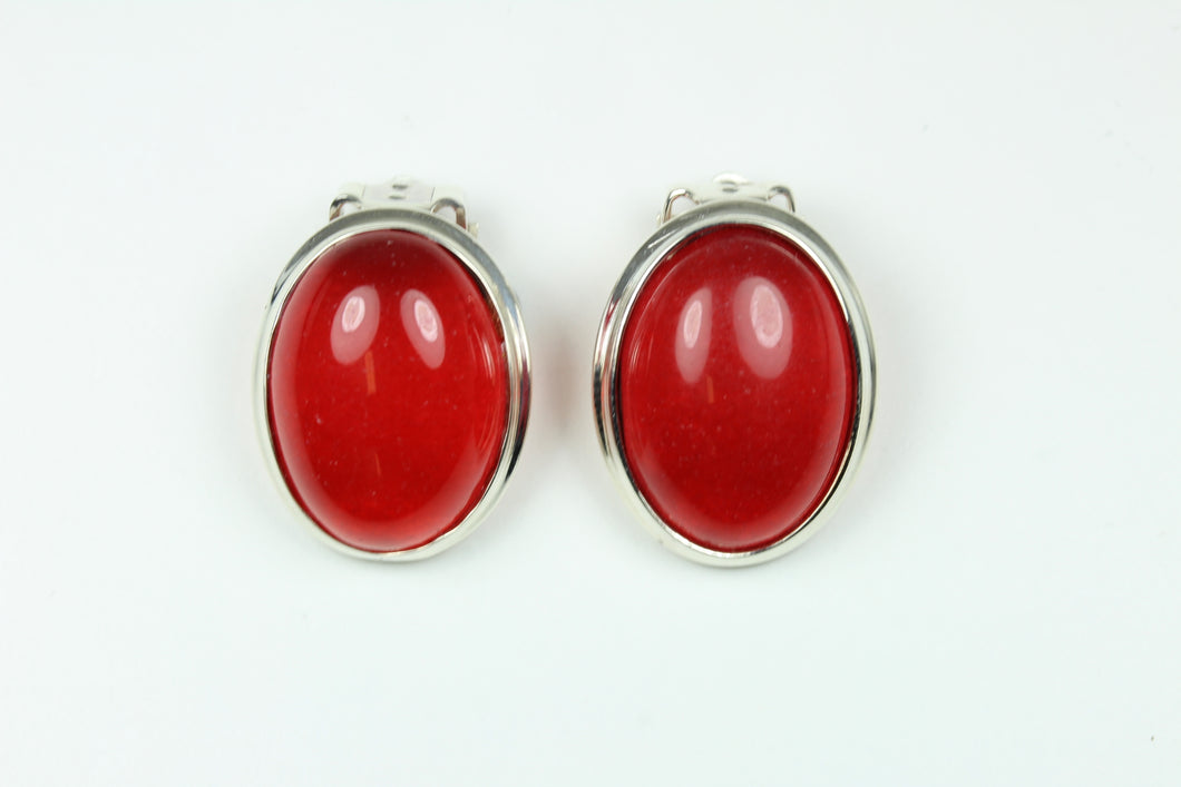 Sterling Silver Cabochon Carnelian Clip On Earrings