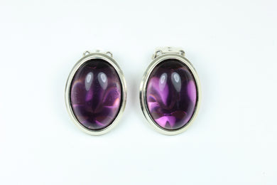 Sterling Silver Cabochon Amethyst Clip On Earrings