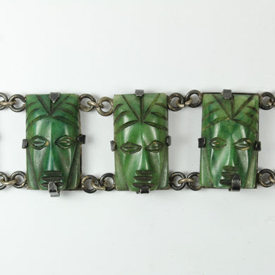 Engraved New Zealand Jade Silver Bracelet