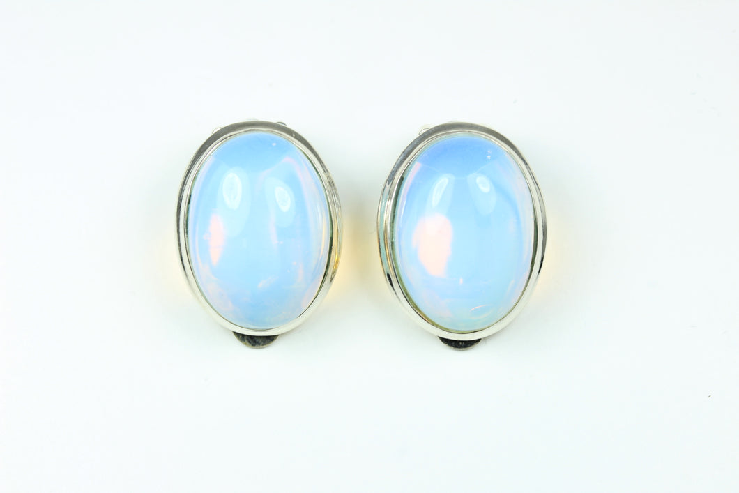 Sterling Silver Cabochon Opalite Clip On Earrings