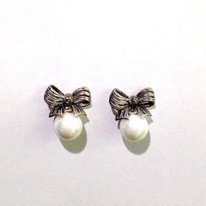 Art Deco Inspired Marcasite and Faux Pearl Earrings