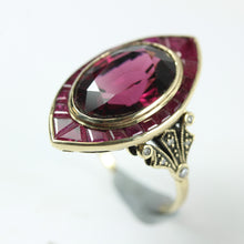9ct Yellow Gold Rubellite Tourmaline Ruby And Diamond Cocktail Ring