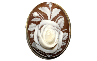 Silver Carved Rose Cameo