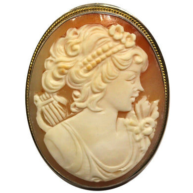 Vintage 1940s Sterling Silver Conch Shell Cameo Brooch