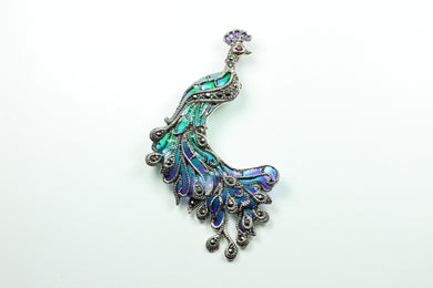 Sterling Silver Peacock Enamel And Marcasite Bracelet
