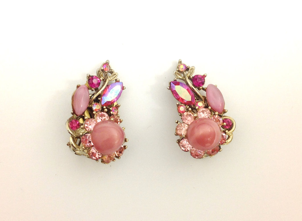 Pink Moonglow Rhinestone Clipons