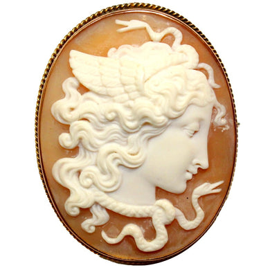 Antique 9ct Yellow Gold Medusa Conch Shell Cameo Brooch