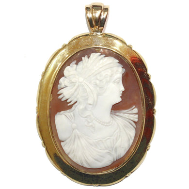 Antique 9ct Yellow Gold Conch Shell Cameo Pendant