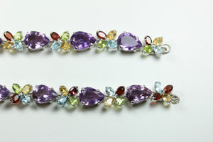 Sterling Silver Garnet, Amethyst, Peridot and Citrine Necklace