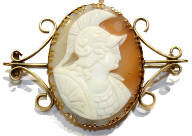 Antique 9ct Yellow Gold Greek Style Conch Shell Cameo Brooch