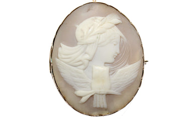 Victorian Conch Shell Cameo Showing an owl symbolizing wisdom
