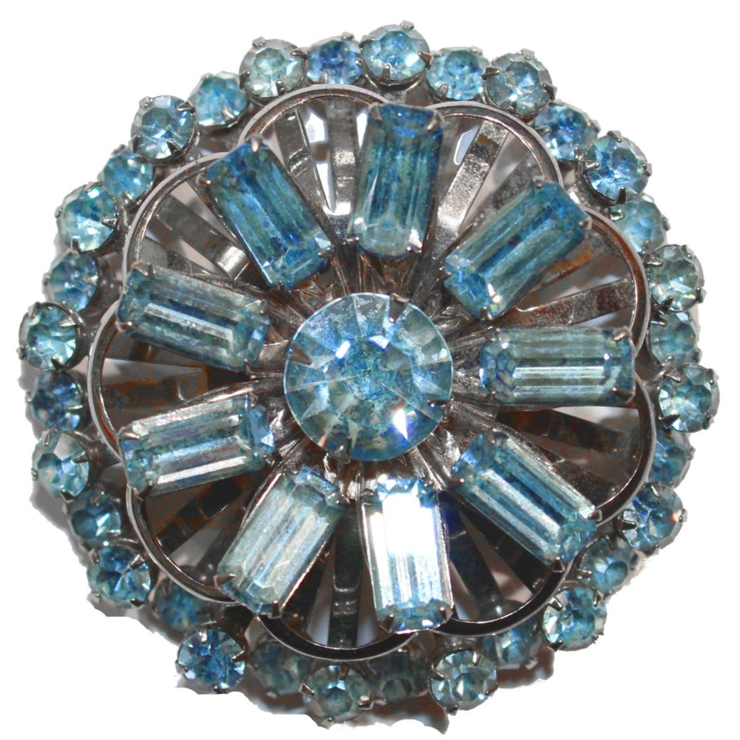 1950's Blue Crystal Brooch