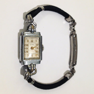 Art Deco Watch by Cyma Sterling Silver Enamel Face Cotton Band
