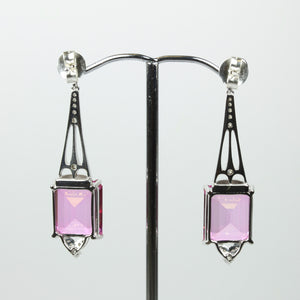 9ct White Gold Diamond Topaz And Tourmaline Studded Earrings
