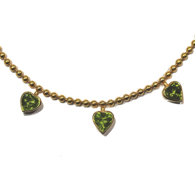 18ct Yellow Gold Peridot Heat Necklace