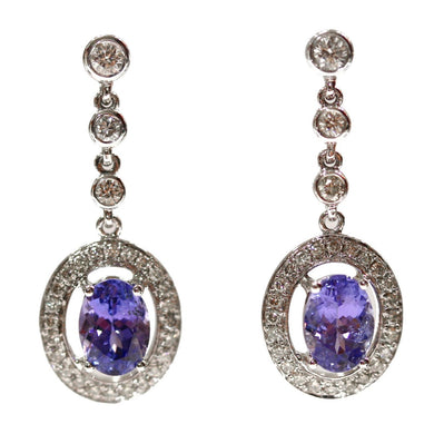 18ct White Gold Tanzanite and Diamond Stud Drop Earrings