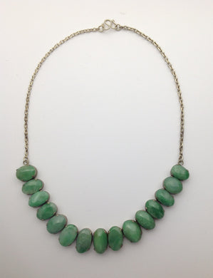 Natural Jadeite Necklace in Silver