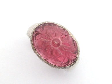 Sterling Silver Carved Tourmaline Ring
