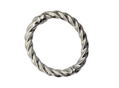 Sterling Silver Twisted Hinged Bangle