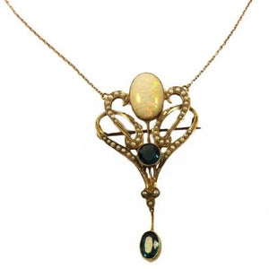 Art Nouveau 12ct Yellow Gold Mintabie Opal, London Blue Topaz and Seed Pearl Pendant