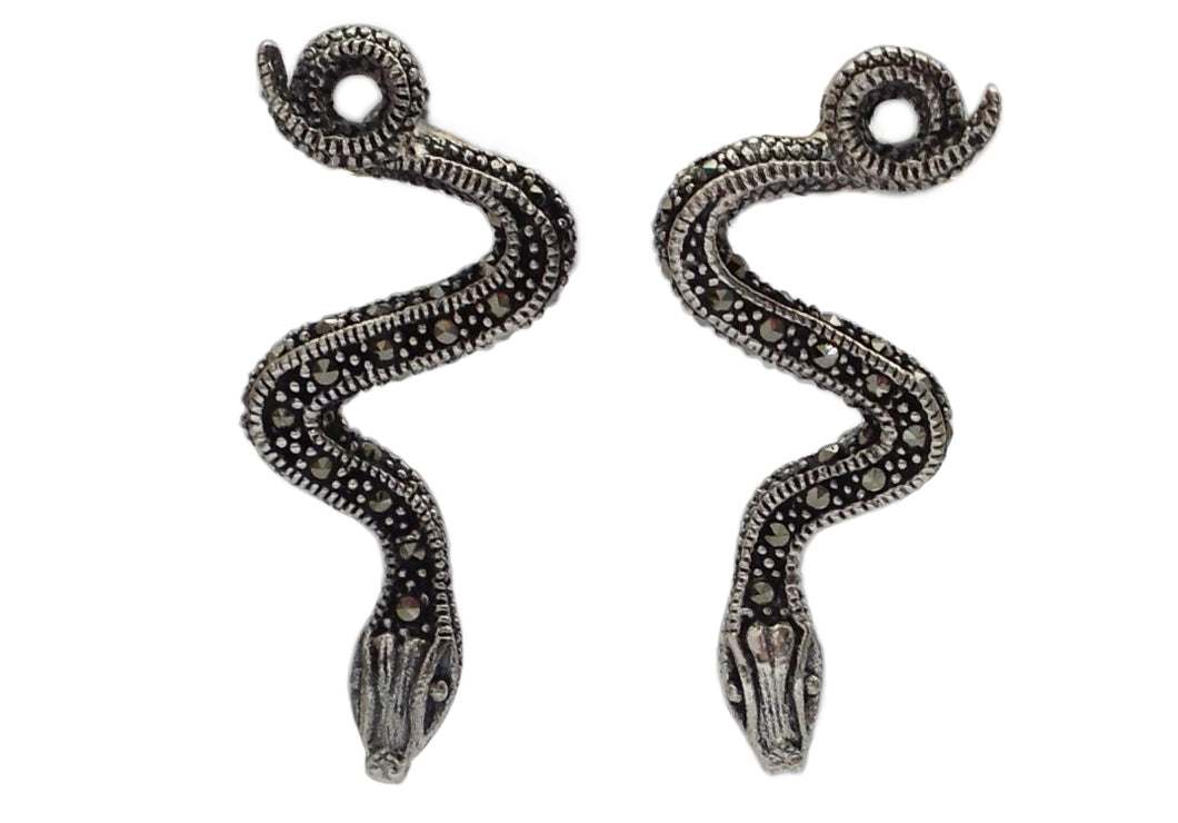 Sterling Silver Marcasite Snake Earrings
