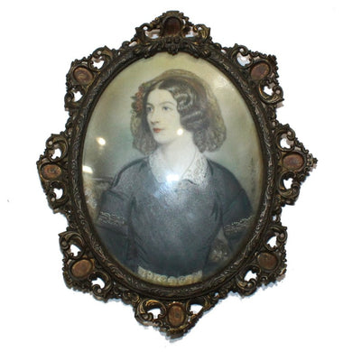 Porcelain Miniature Portrait of Woman in Brass Frame