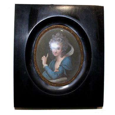 'The Blue Lady' Antique Porcelain Miniature