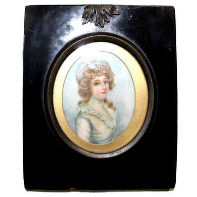 Antique Porcelain Miniature in Ebony Frame