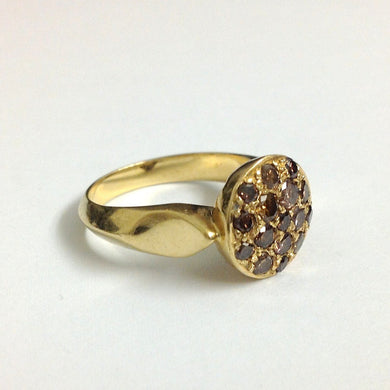 Art Deco Revival Cognac Cluster Diamond Ring