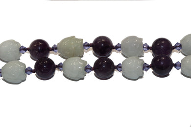 Natural Jadeite and Amethyst Necklace