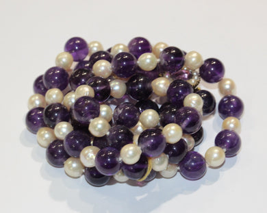 Vintage 9ct Yellow Gold Amethyst and Pearl Multi-Strand Beaded Necklace