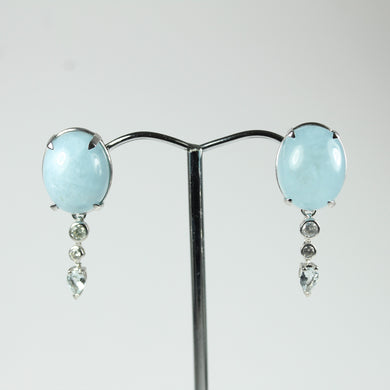 Pair Of 9ct White Gold Aquamarine Cabochons And Diamond Earrings