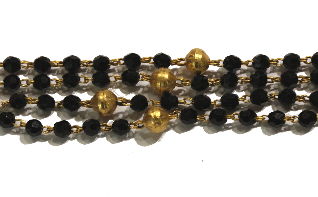 Natural Black Spinel and Gold Necklace