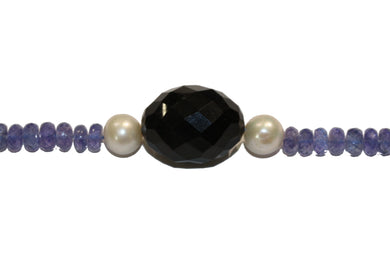 Tanzanite, Pearl and Pearl and Whitby Jet Necklace