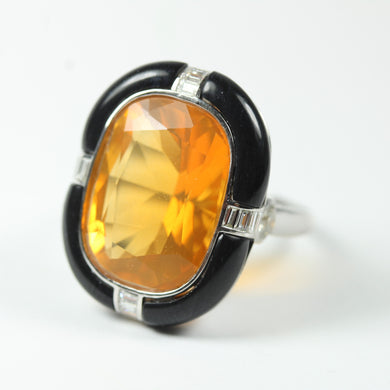9ct White Gold Mexican Fire Opal Onyx And Diamond Ring