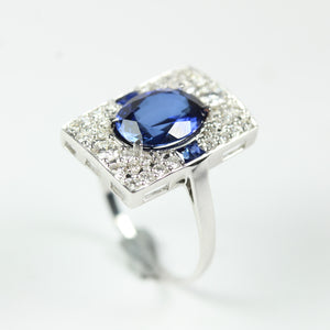 9ct White Gold Sapphire And Diamond Ring