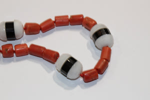 White Agate and Coral Necklace