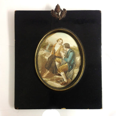 Hand-painted Ivorine Miniature Portrait of a Couple Palm-Reading